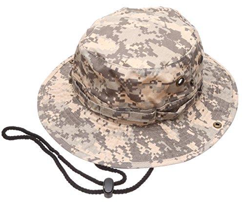 (Summer Outdoor Boonie Hunting Fishing Safari Bucket Sun Hat with Adjustable Strap (Grey Digital Camo,LXL))