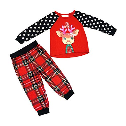- Girls OH Deer Reindeer and Snowflake Ultra Soft Knit TOP with Plaid Soft Knit Bottoms 2 Piece Set (4T)