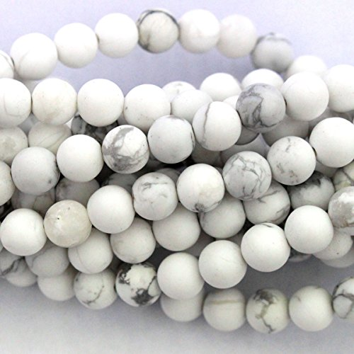 Natural Frosted Unpolished Matte Genuine White Turquoise Round Gemstone Jewelry Making Loose Beads (6mm)