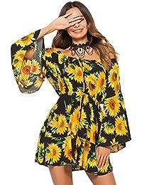 f5b7ec86e00 Women s Off Shoulder Floral Short Midi Summer Beach Long Sleeve Boho Dress