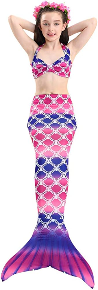 Rainbow Swimmable Mermaid Tail Bikini Sets Monofin Swimware Girls Kids Cospaly Gift