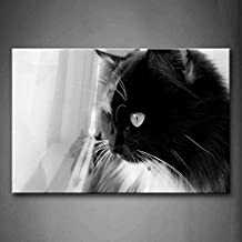 First Wall Art - Black And White Black Cat Look At Window Wall Art Painting The Picture Print On Canvas Animal Pictures For Home Decor Decoration Gift