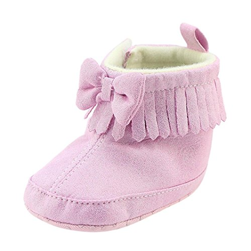 ❆Huhu833 Kinder Mode Baby Stiefel Soft Sole, Keep Warm Schnee Stiefel, Bowknot Kleinkind Stiefel Warm Schuhe (0-18 Month) Rosa
