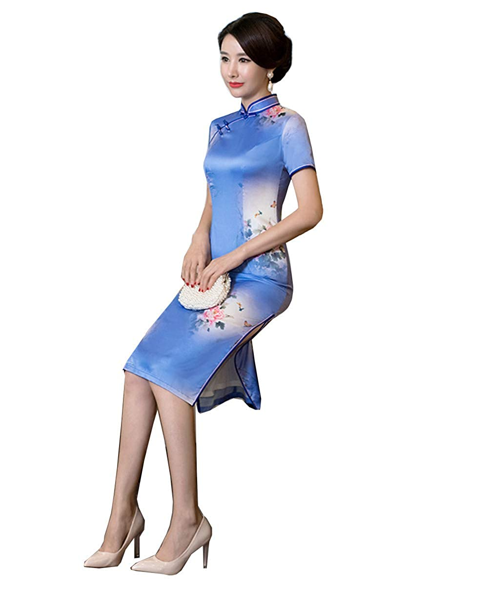 Picture color E Women's Cultural Wear Silk Cheongsam Floral Printing Qipao for Girls