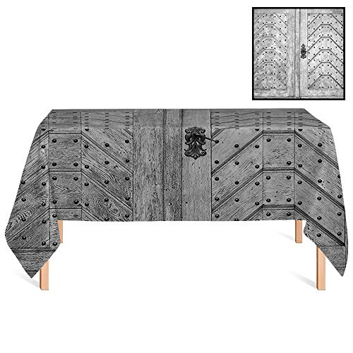 SATVSHOP Decorative Table Cloth /60x104 Rectangular,Rustic Old Door Exit Brads Nailed Penal Old Fashioned Culture Middle Ages Artwork Wooden Gray.for Wedding/Banquet/Restaurant.