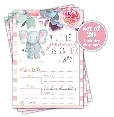 Pink Elephant Girl Baby Shower Invitation - Set of 20 with (Handmade Baby Shower Invitation)