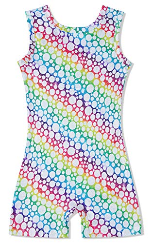 Kids Girl's Stripe Dots Leotards Biketards 3D Graphic Rainbow Sleeveless Bodysuits for Dance Sequin Quick Dry Athletic Activewear Gymnastics 5-6 T ()