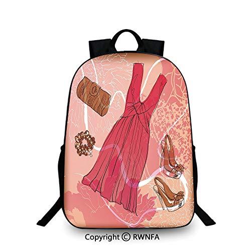 Kids Backpack Children Bookbag,Spring Inspired Floral Abstract Backdrop Pink Dress Shoes Bracelet Decorative School Backpacks For boys Pink Brown White ()