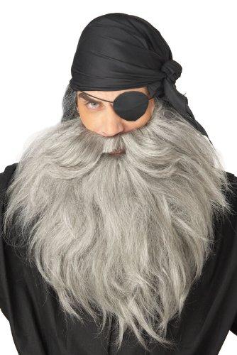 (California Costume Pirate Beard & Moustache Costume Accessory Gray)