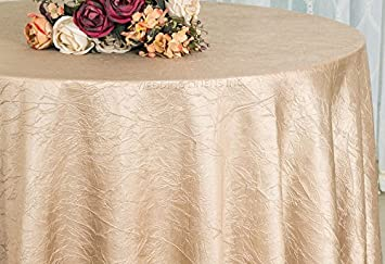 Wedding Linens Inc. 120 Inch Round Crinkle Crushed Taffeta Tablecloths,  Round Table Cover Linens