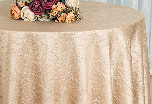 Wedding Linens Inc. 120 inch Round Crinkle Crushed Taffeta Tablecloths, Round Table Cover Linens for Round Banquet Tables - Champagne (Round 120 Tablecloth Damask)
