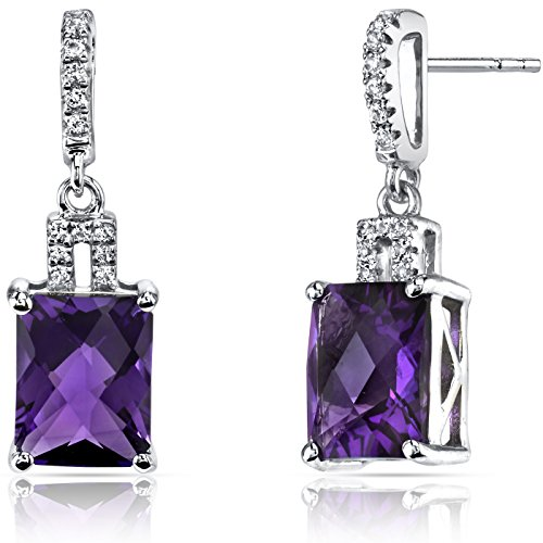 14K White Gold Amethyst Earrings Radiant Checkerboard Cut 4.00 Carats