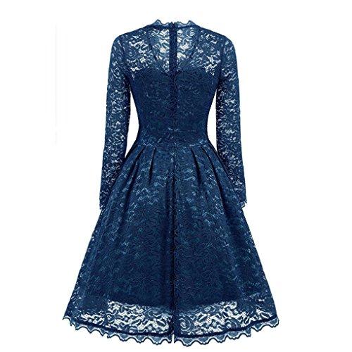 Robe Tops Bleu Chic Soir Floral Robe Bridesmaid Tunique Dentelle De Dames Manche Femme Bringbring Vintage Longues xqA86pZRnw