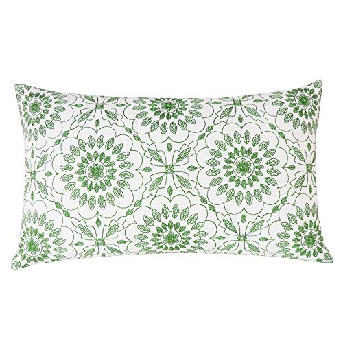 SLOW COW Cotton Linen Embroidery Rectangular Pillow Cover Pillowcase Decorative Lumbar Throw Pillow Cover for Couch Sofa 12 x 20 Inches Green (Lumbar Green Pillow)