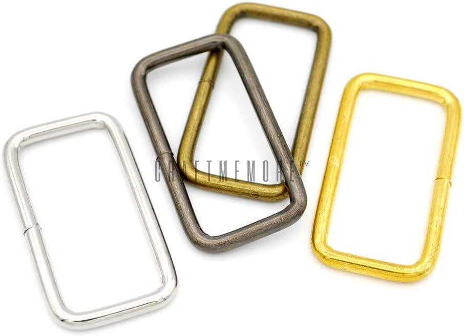 1-1//4 x 20 pcs, Gold CRAFTMEMORE Metal Rectangle Buckle Ring Fits 1-1//4 1-1//2 Strap Heavy Duty Rectangular Cord for Bag Belt Loop Purse Making