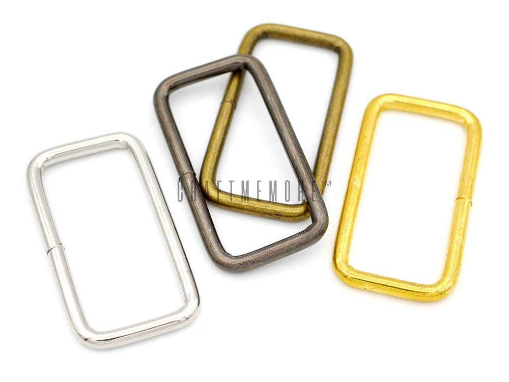 1-1//2 Inches, Silver CRAFTMEmore Metal Rectangle Buckle Ring for Bag Belt Loop Strap Heavy Duty Rectangular Cord fits Webbing 1-1//4 /& 1-1//2 Wide Pack of 20