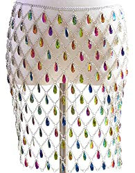 Suit With Multi-Colour Rhinestone Body Chain