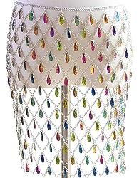 Women's Suit With Multi-Colour Rhinestone Body Chain