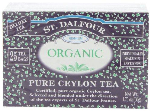 ST. DALFOUR Organic Tea, Tea Bags, Pure Ceylon, 1.75-Ounce Bags, 25-Count Boxes (Pack of 6) (Ceylon Blended Tea Teas)