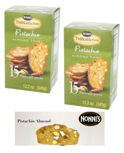 Thin Addictives, Thinaddictives Lightly Sweet & Crunchy Pistachio Almond Thins of 12.2 Oz Box- 2 Pack of 15 Freshness Packs ( 30 Packs Total ) by nonni,s thin addictives