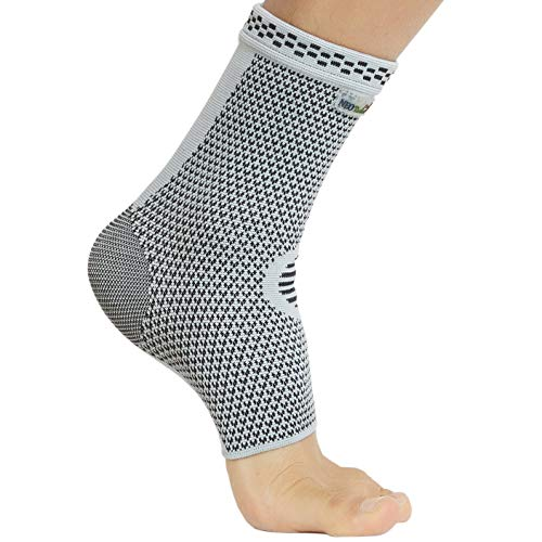 Neotech Care Ankle Support Sleeve (1 Unit) – Bamboo Fiber Knitted Fabric – Light, Elastic & Breathable – Medium Compression – Sports, Exercise, Gym – Right or Left Foot, Men, Women – Grey (Size XL)