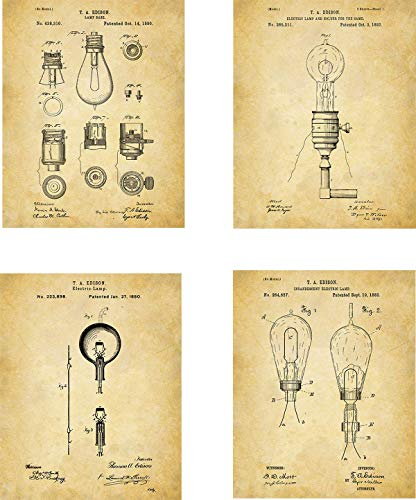 Vintage Lightbulbs Patent Wall Art Prints - set of Four (8x10) Unframed - old lights and bulbs wall art decor