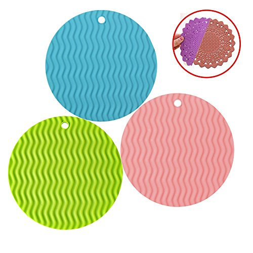 Silicone Pot Holders Set of 3, Insulated Flexible Durable Non Slip Coasters Hot Pads Heat Resistant Silicone Trivet Mat Safe Kitchen Trivet Bowl Mat (Blue+Green+Pink)