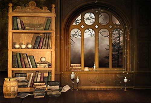AOFOTO 7x5ft Vintage Magic Room Photography Background Retro Bookcase Backdrop Old Bookshelf Window Book Candle Moon Night Kid Girl Boy Artistic Portrait Photoshoot Studio Props Video Drape Wallpaper