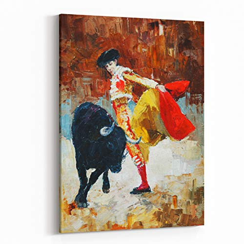 Rosenberry Rooms Canvas Wall Art Prints - Bullfighting in Spain, Oil Painting, (16 x 20 inches)