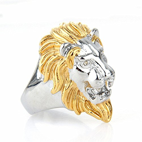 ALBEST Jewelry Men s Titanium Steel Vintage Roaring Lion Head