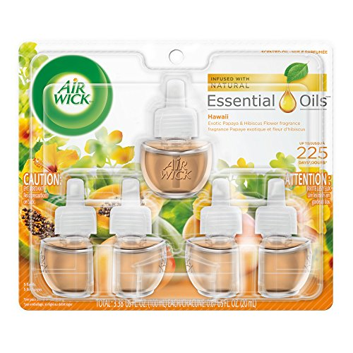 Air Wick plug in Scented Oil 5 Refills, Hawaii, (5x0.67oz), Essential Oils, Air - Over Glass Sunset