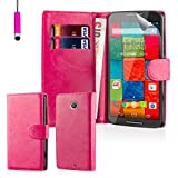 32nd® Book wallet PU leather case cover for Motorola Moto X Play (2015 edition) + screen protector, cleaning cloth and touch stylus - Hot Pink