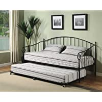 Kings Brand Black Metal Twin Size Daybed Frame with Pop Up Trundle & Mattresses