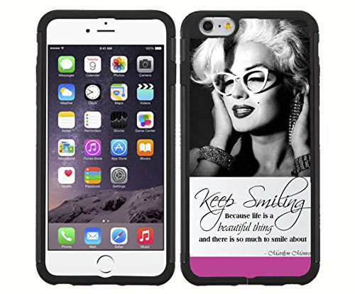 """Pink, Black, and White """"Keep Smiling"""" Marilyn Monroe in Cat Rimmed Glasses RUBBER Snap on Phone Case (iPhone 6)"""