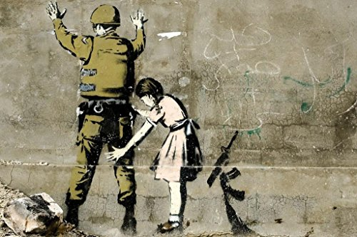 Laminated Banksy Girl and a Soldier Graffiti Art Print Sign Poster 18x12 inch