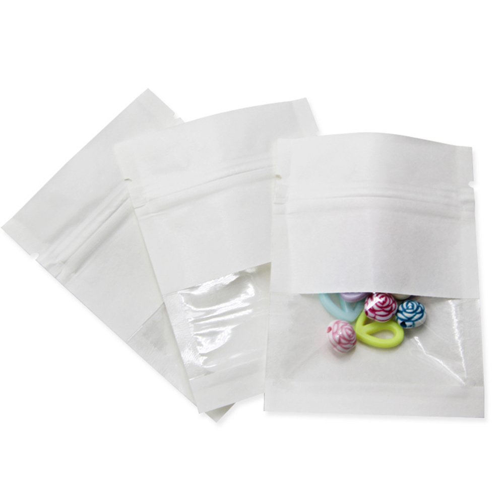 """100 Pcs Clear Window 6.3mil Kraft Paper Ziplock Food Storage Bag Resealable Heat Sealable Plastic Grease Proofing Pouches 2.7""""x3.5"""" (inner size 2.36""""x2.36"""") Smell Proof Sample Stuff Tea Coffee Packet"""