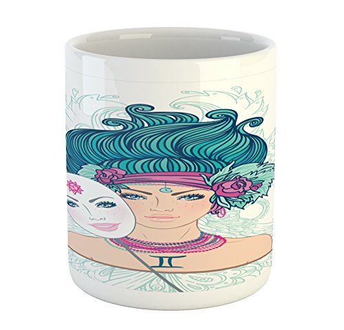 Ambesonne Zodiac Gemini Mug, Young Woman with Sad Expression Holding a Mask Expressing Cheerfulness, Printed Ceramic Coffee Mug Water Tea Drinks Cup, Multicolor