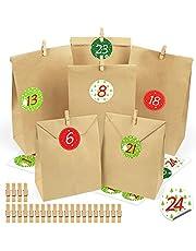 Adventskalenderväskor för fyllning 2020, 24 presentpåsar för adventskalendrar gör din egen, 24 dagars nedräkning julkalender för barn, familj, vänner – med klistermärken och träklämmor