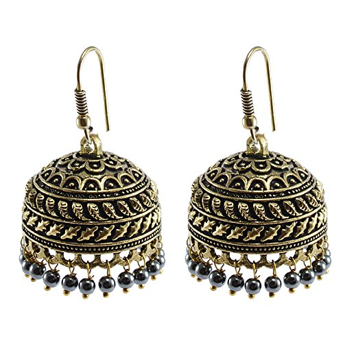 Jaipuri Jhumka-Oxidized Jhumkai- Dome Shaped Hematite Dangle Chandelier Earring-Silvestoo Jaipur PG-103695 Hematite Dome