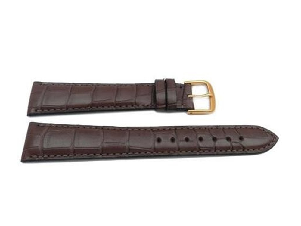 Genuine Leather Alligator Grain Chestnut Cartier Style Long Watch Strap Made in USA