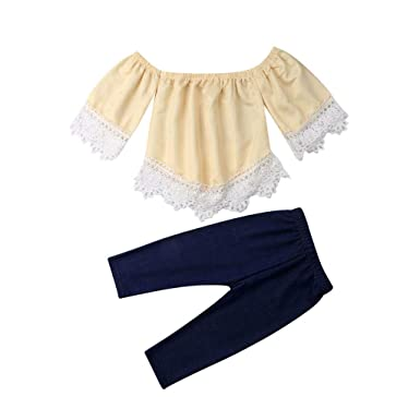 UK Kids Baby Girls Summer Outfit Clothes Lace T-shirt Tops+Denim Skirts Outfits