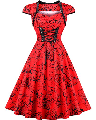 Halloween Costumes For Curvy Girls (Women's 50s Vintage Cap Sleeve Sweetheart Neck Floral Lace Up Swing Party Dress XX-Large)