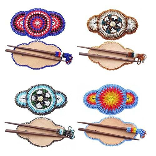 Wood-Stick-Hair-Barrette-Wholesale-Lot-4-With-FREE-GIFT-ONE-PAIR-OF-EARRINGS