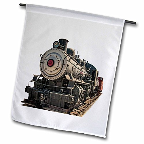 3dRose fl_181021_1 A Steam Locomotive and Caboose Garden Flag, 12 by 18-Inch