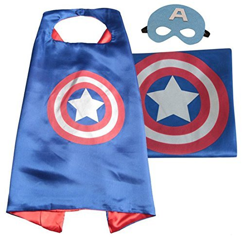 JDProvisions Captain America Blue Kids Cape and Mask Set