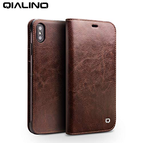 iPhone XR Case, QIALINO Slim Flip Sleeve Genuine Leather Protective Cover iPhone XR Wallet Case with Card...