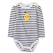 Gymboree Baby Girls Long Sleeve Bodysuit, Nautical Lemon, 12-18 Mo