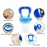 StarRoad Premium Child Baby Infant Food Feeder Fresh Fruit Meat food Baby Teething Toy Training Teether Pacifier Safe Silicone Nipple Storage Container Feeding (M&L, Blue&Red)