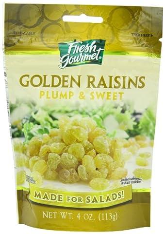 Fresh Gourmet Golden Raisins, Plump and Sweet, 4-Ounce (Pack of 9) - Plump Sweet