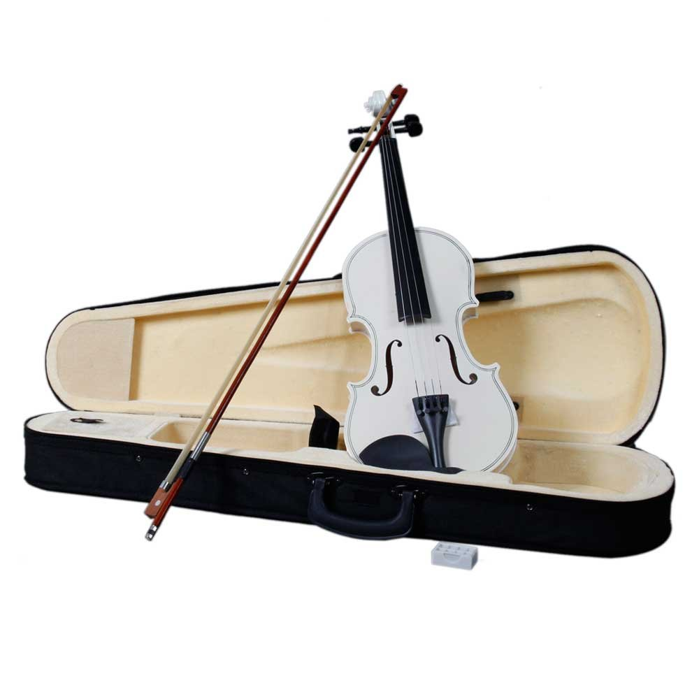 Lovinland 4/4 Acoustic Violin White Beginner Violin Full Size with Case Bow Rosin
